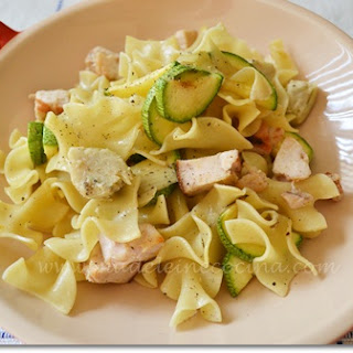 Pasta with Zucchini, Artichoke, and Chicken.