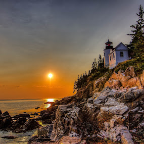 Bass Harbor Head Lighthouse, Maine by G. Stetson - Landscapes Sunsets & Sunrises ( tranquil, bass harbor, maine, relax, sunset, lighthouse, tranquility, lighthouse sunset, relaxing, golden hour,  )