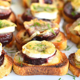 Beet and Brie Crostini {ReluctantEntertainer.com}