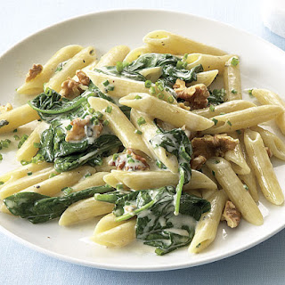 Penne with Spinach, Gorgonzola, and Walnuts.