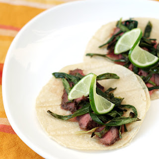 Garlic-Marinated Steak Tacos with Cebollitas Asadas.