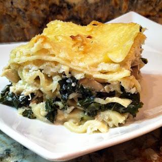 Sautéed Kale, Mushroom and Creamy Cauliflower Lasagna