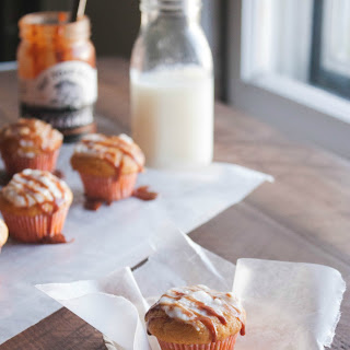 Mini Pumpkin Muffins {with sour cream and caramel frosting}