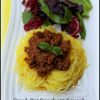 Low Carb Crock Pot Meat Sauce and Spaghetti Squash (cooked all in ONE crockpot)!!!