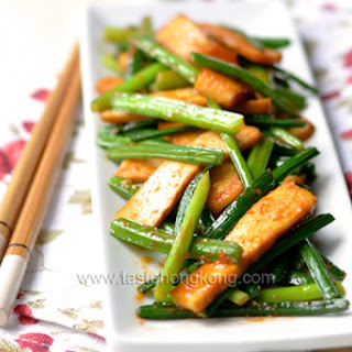 Garlic Chive with Dried Tofu, a Chinese Vegetarian Stir-Fry