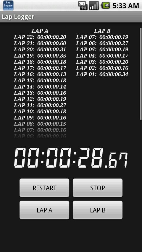 Lap Logger - screenshot
