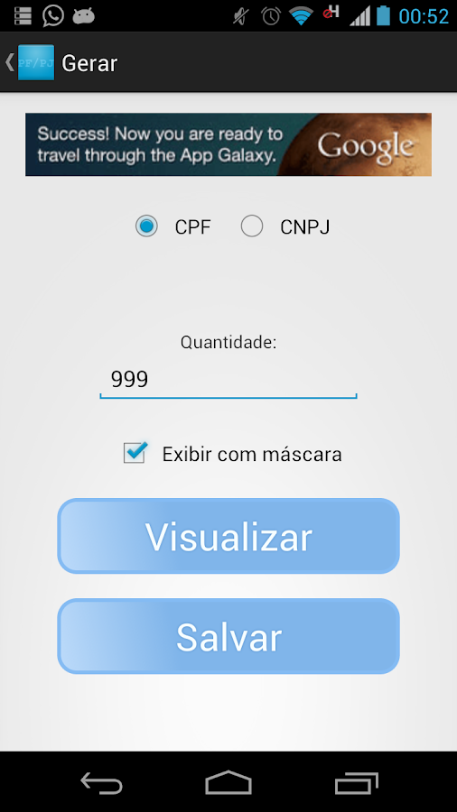 CPF/CNPJ Tester - screenshot