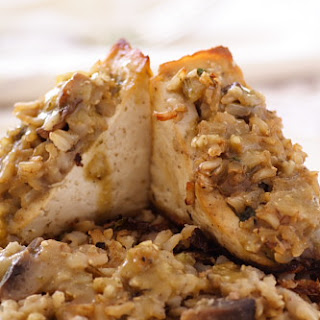 Tofu Stuffed with Brown Rice and Mushroom Dressing.