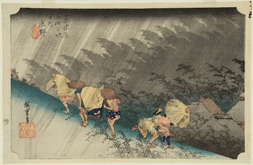 Rainstorm, Shono, from the series the Fifty-three Stations of the Tokaido (Hoeido edition)