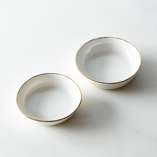 Gold Rimmed Nesting Small Dishes (Set of 2)