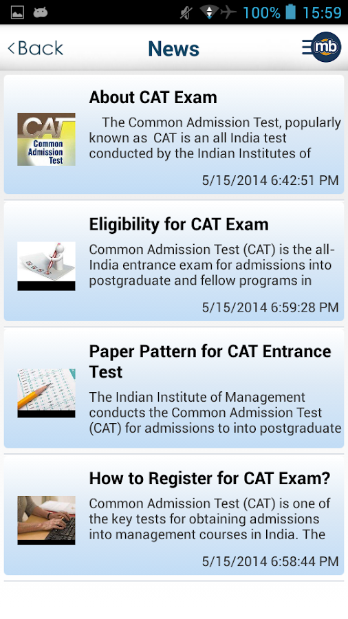 CAT MBA Exam Prep by MingleBox - screenshot