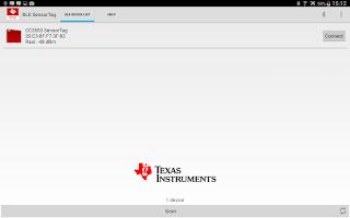 Screenshot of Simplelink SensorTag