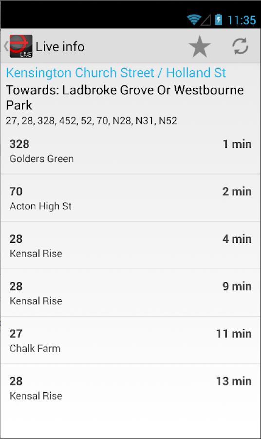 London Bus Live Countdown - screenshot