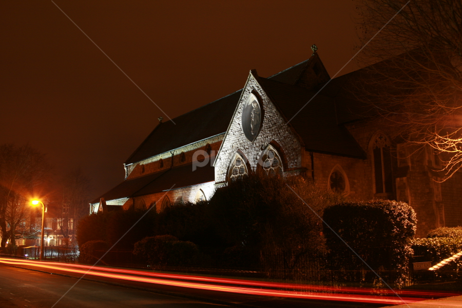 Thin red line by Werner Booysen - Buildings & Architecture Places of Worship ( windsor, england, night photography, church, night lights, nighttime, night, united kingdom, werner booysen, nightscape,  )