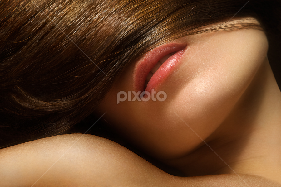 Sticky by Maxim Malevich - People Body Parts ( girl, woman, hairs, lips, close up, portrait )