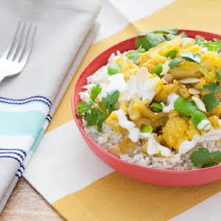 Cauliflower & Fava Bean Biryani with Basmati Rice.