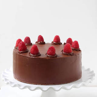 Double Chocolate Cake with Raspberry Buttercream Filling.