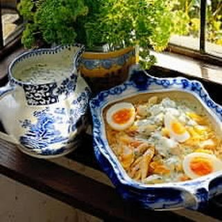 Mixed Smoked Fish Kedgeree with a Creme Fraiche and Parsley Sauce.