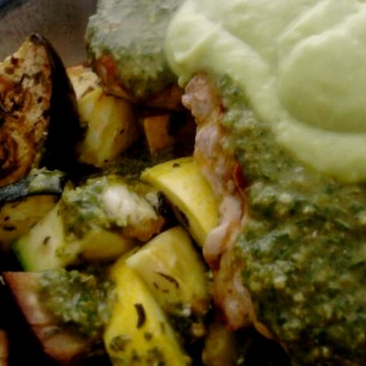 Pork Chops Over Roasted Summer Vegetables in a Citrus Balsamic Vinaigrette and Avocado Cream Recipe