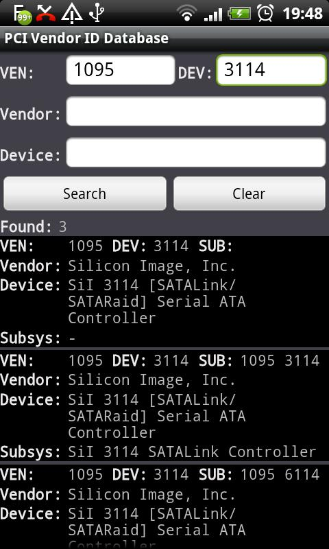 PCI Vendor/Device Database- screenshot
