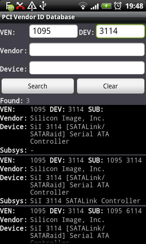 PCI Vendor/Device Database - screenshot