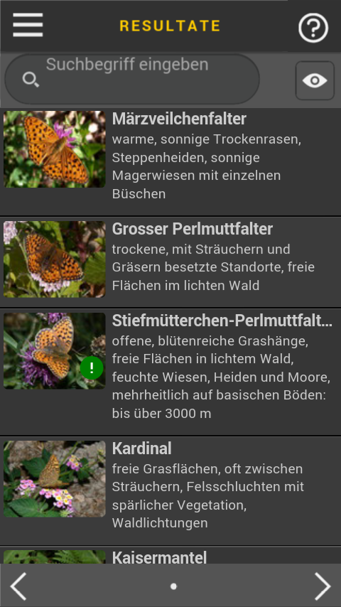 Schmetterlinge bestimmen- screenshot