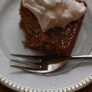 "Pumpkin ""Brownies"" with Maple Rum Cream."