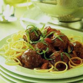 Spaghetti With Venison Meatballs.