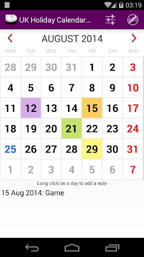 2015 UK Holiday Calendar NoAds