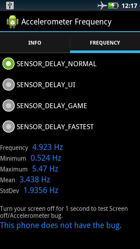 Accelerometer Frequency - screenshot
