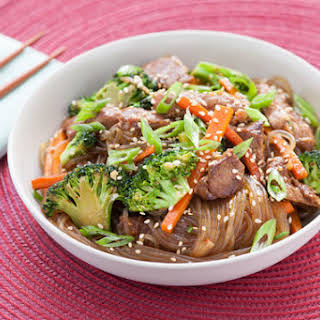 Korean Stir-Fried Beef Chapchae with Sweet Potato Vermicelli.