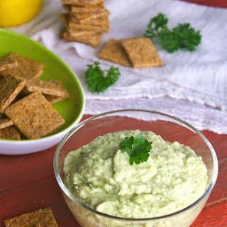 Gluten-free Zucchini Hummus With Homemade Peppered Crackers.