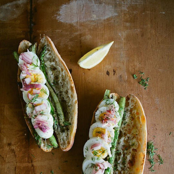 Boiled Egg, Seared Asparagus & Pickled Onion Sandwiches Recipe