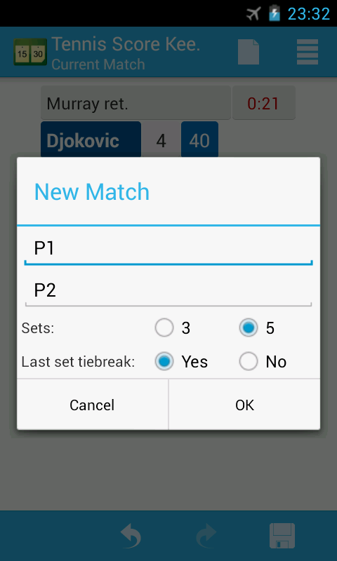 Tennis Score Keeper - screenshot