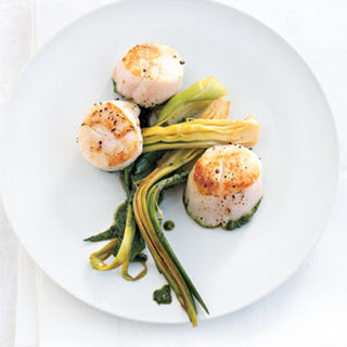 Seared Scallops with Leek Ribbons Recipe