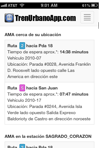 Tren Urbano App- screenshot