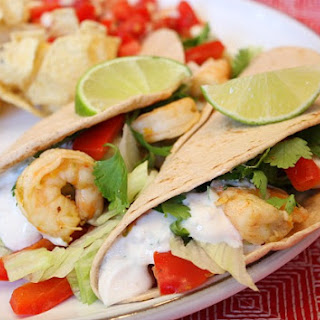 Tequila- Lime Shrimp Tacos w/ Chipotle Cream