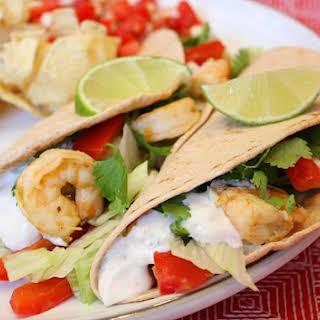 Tequila- Lime Shrimp Tacos w/ Chipotle Cream.