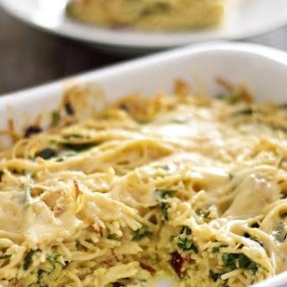 Baked Spaghetti Frittata with Broccoli Rabe, Bacon and Three Cheeses Recipe