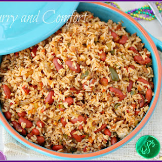 Mardi Gras Dirty Rice with Red Beans.