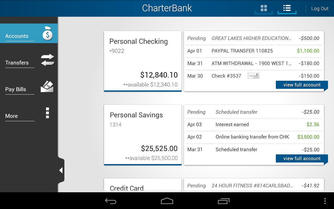 CharterBank - screenshot