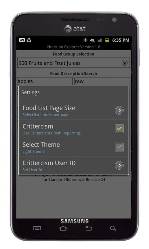 Nutrition Explorer - screenshot