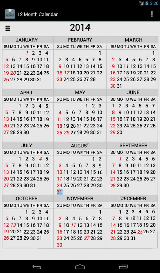 Monthly Calendar Google : Twelve month calendar android apps on google play