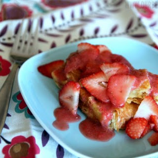 Cream Cheese-Stuffed Lemon French Toast with Strawberries.