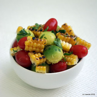 Grilled Corn, Tomato and Avocado Salad.