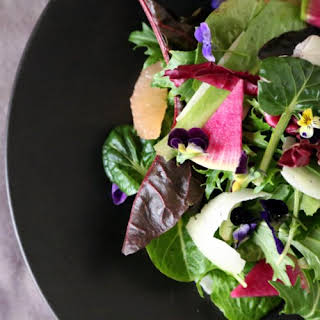 Edible Flower Salad With Grapefruit and Watermelon Radish.