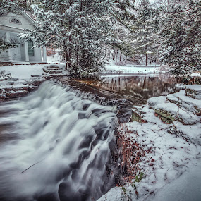 Picturesque by Aaron Campbell - Landscapes Waterscapes ( snowfall, winter, hickory run, church, carbon county, state park, waterfall, white haven, reflections, pennsylvania, slow shutter )
