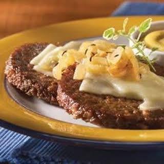 Cheesy Sauteed Onion Burgers.