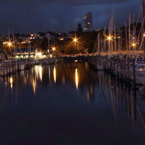 Auckland Yacht Club at night by Anita Elers-Cooper - Landscapes Waterscapes ( night lights, auckland, yacht club, new zealand )
