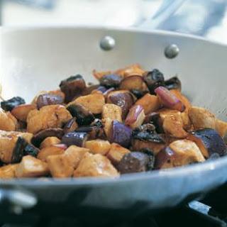 Eggplant, Portobello and Chicken Stir-Fry